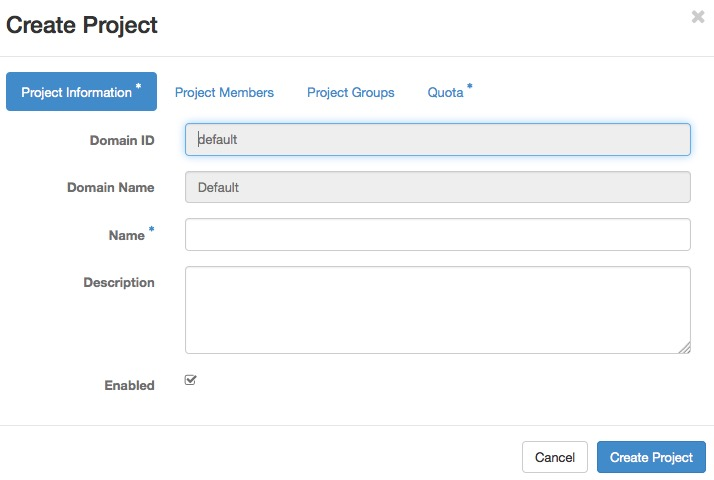 Create Project form